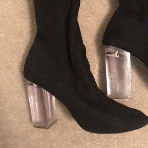 Shoes - Black Thigh High Suede boots, Size 8.